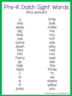 https://www.teacherspayteachers.com/Product/Dolch-Sight-Word-List-Pre-primer-2391417