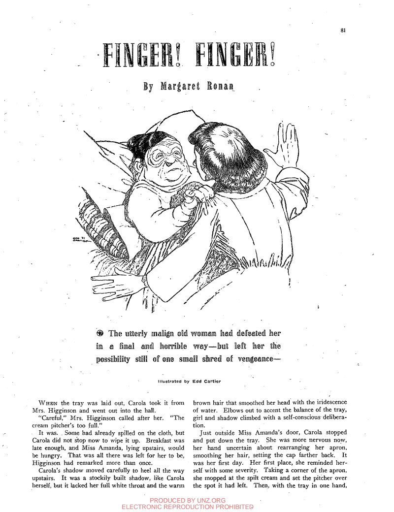 First page of Finger Finger by Margaret Ronan - Unknown Worlds 1941