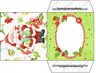 Funda para CD's para imprimir gratis de Santa en Fondo Verde