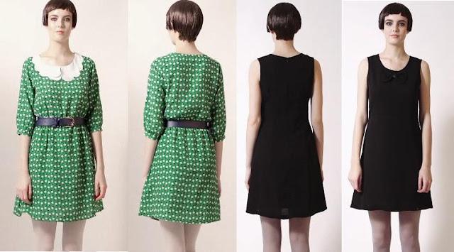 vestidos de kling otoño 2012 en verde con lunares y negro
