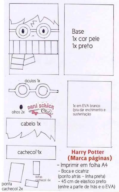 Marcador De Paginas Harry Potter Com Molde Para Imprimir Como Fazer