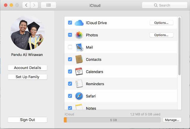 Pengaturan iCloud di Macbook