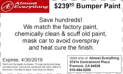 Discount Coupon $239.95 Bumper Paint Sale April 2019