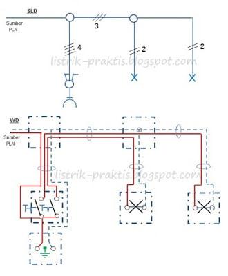 Instalasi listrik rumah dengan memahami wiring diagram listrik praktis instalasi saklar seri stop kontak dan dua lampu cheapraybanclubmaster Choice Image