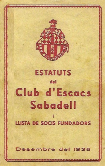 Portada del libro de los Estatutos del Club Ajedrez Sabadell