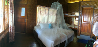 King bed with mosquito net