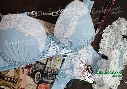 Lingerie Azul e Branco e persexy -  Exuberance Lingerie