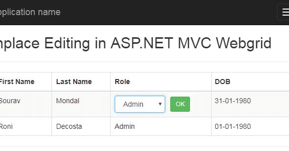 Part 2 - Advance Inplace editing in asp net MVC webgrid