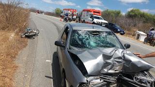 Acidente entre moto e carro deixa homem desacordado entre Picuí e Nova Palmeira
