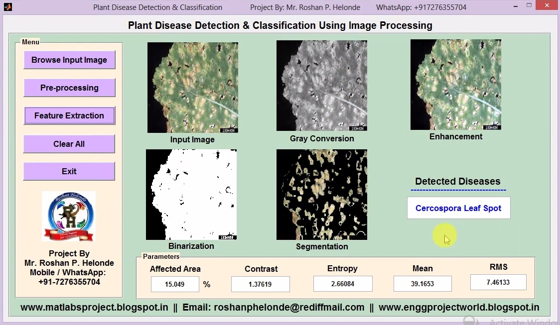 Matlab Project for Plant Disease Detection & Classification using