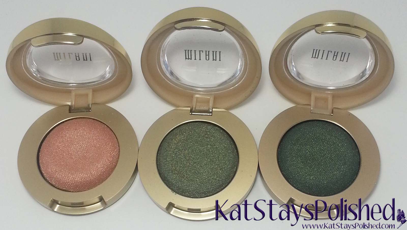 Milani Bella Eyes Gel Powder Eye Shadow - Champagne - Khaki - Emerald | Kat Stays Polished