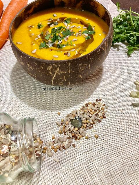 Crema caliente de zanahoria, calabaza y quinoa