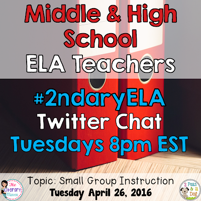 Join secondary English Language Arts teachers Tuesday evenings at 8 pm EST on Twitter. This week's chat will focus on small group instruction in the ELA classroom.