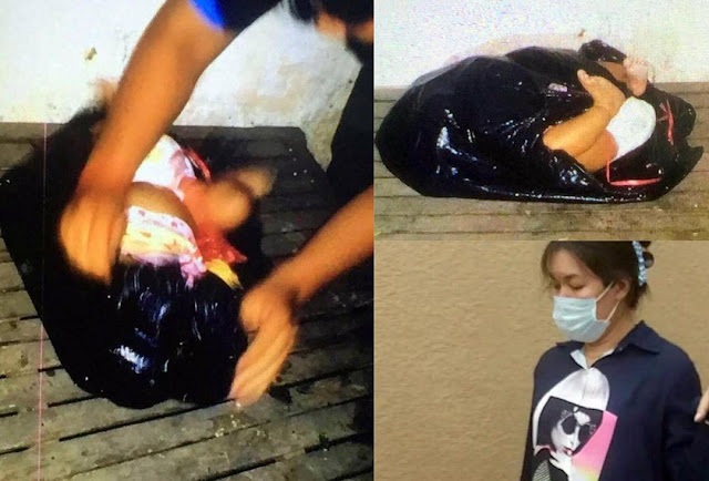 Kidnapper tapes the mouth of her friend's baby, wraps her in a black bin bag, during a visit
