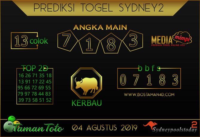 Prediksi Togel SYDNEY 2 TAMAN TOTO 04 AGUSTUS 2019