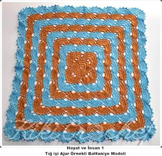 Tığ işi Ajur Örnekli Battaniye Yapımı, Videolu