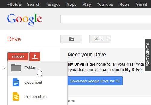 create a folder - google drive
