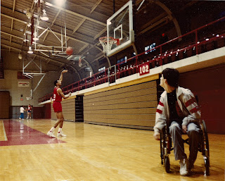 Johnny Dawkins shooting; Rob in foreground