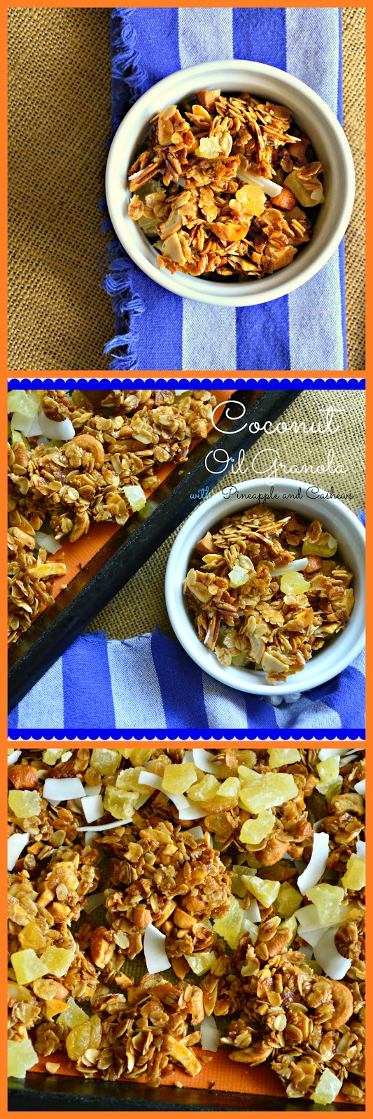 This granola laden with coconut and made with coconut oil also has dried pineapple and cashews. What a crunchy way to start the morning but this is also perfect for a snack! #granola #coconutoil #oats www.thisishowicook.com