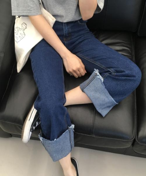 Cuffed Hem Wide Leg Jeans