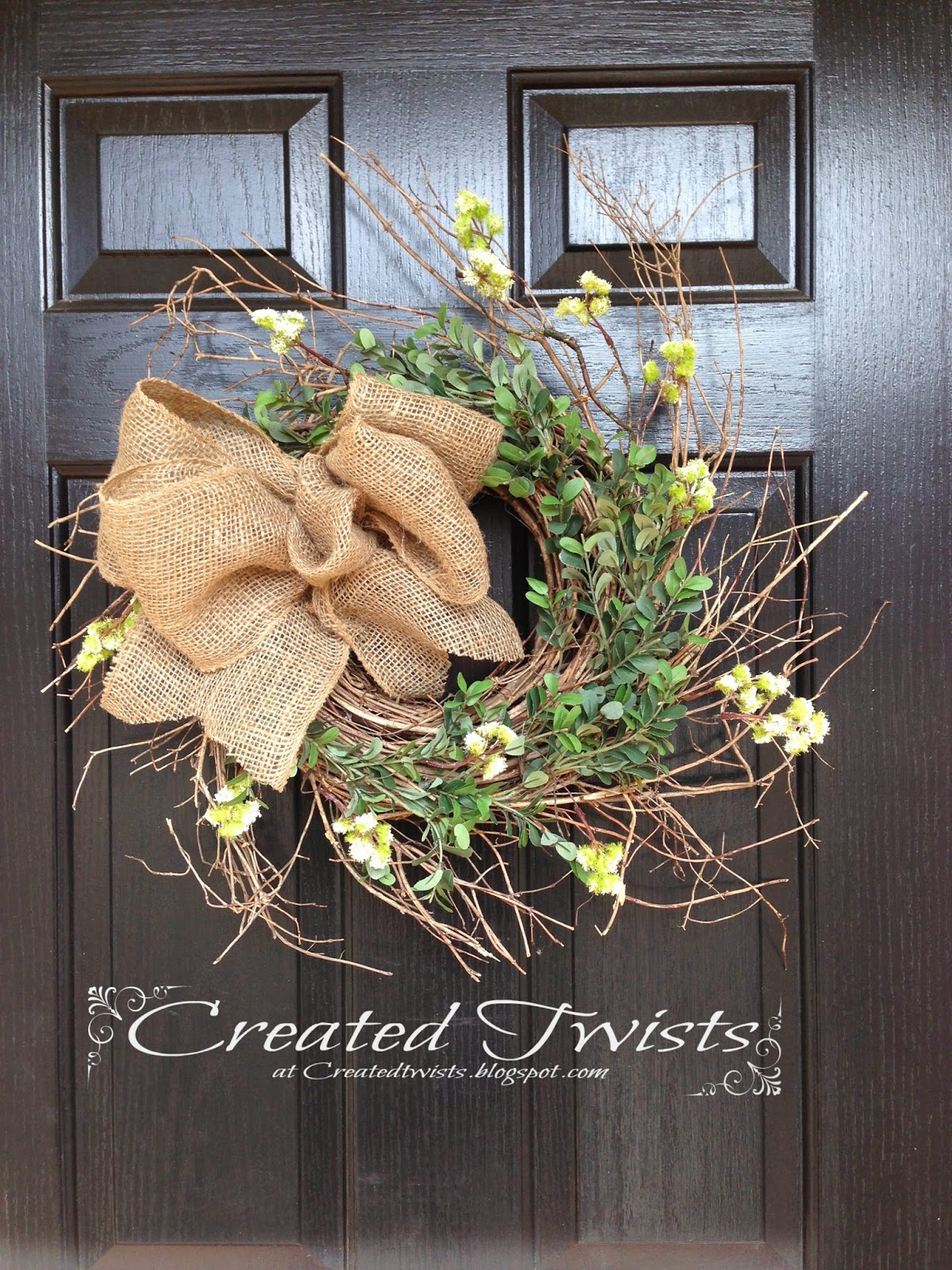 created twists twig wreath with burlap bow