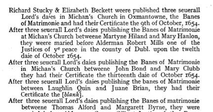 1654 Laughlin M'Richard Quin marries Juane Brian - October 12-26 1654 St. Michan RC