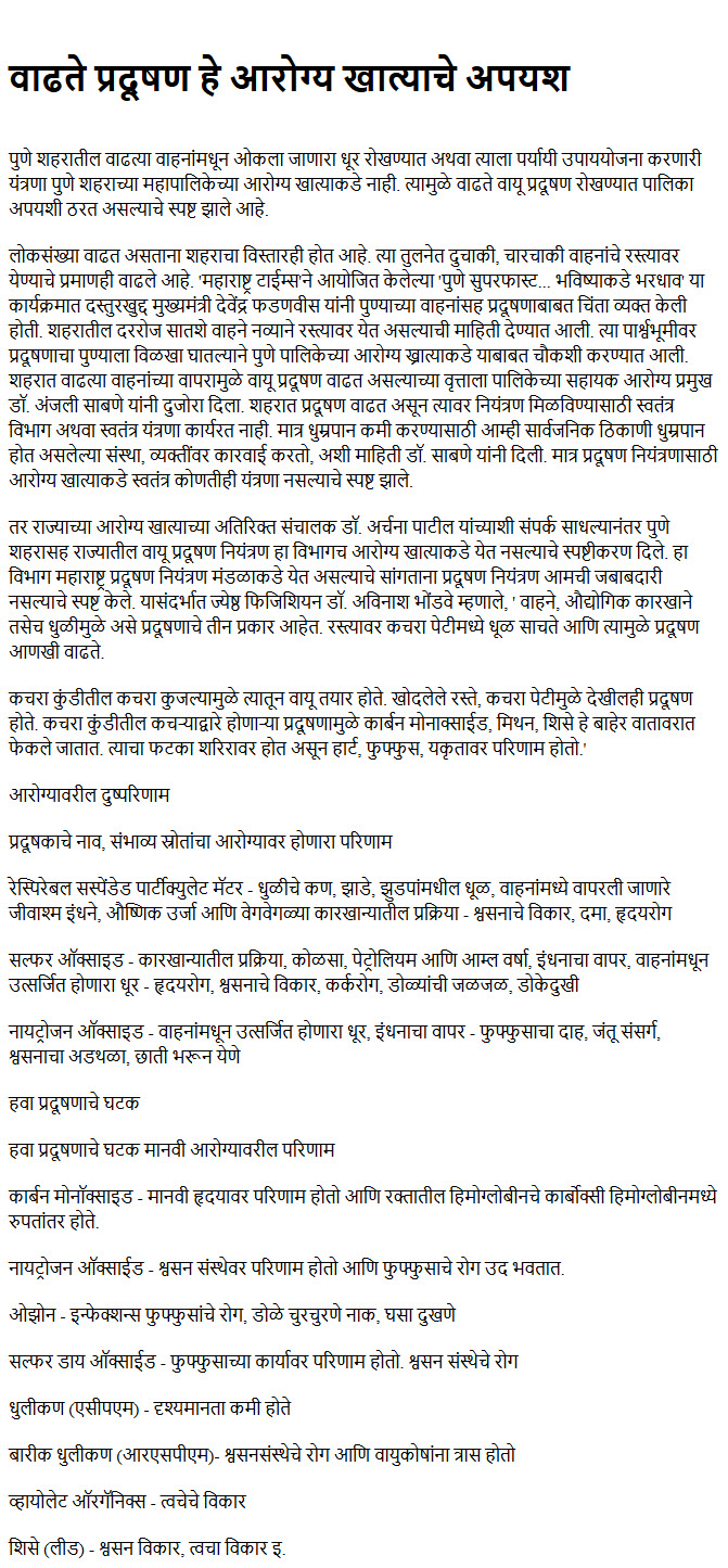 Essay on environment in marathi language