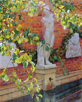 Estatua en el jardín, Francisco Pons Arnau, Pintor español, Pintor Valenciano, Pintura Valenciana, Impresionismo Valenciano, Pintor Pons Arnau, Retratos de Pons Arnau