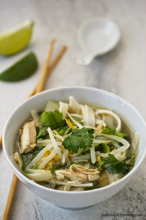 Easy slow cooker chicken pho noodle soup
