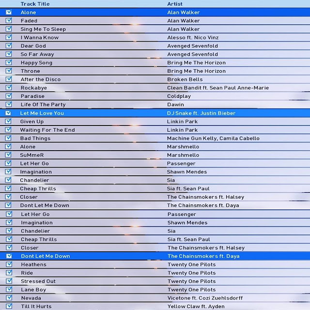 ultigamerz: PES 2017 30 Songs Playlist Request v2