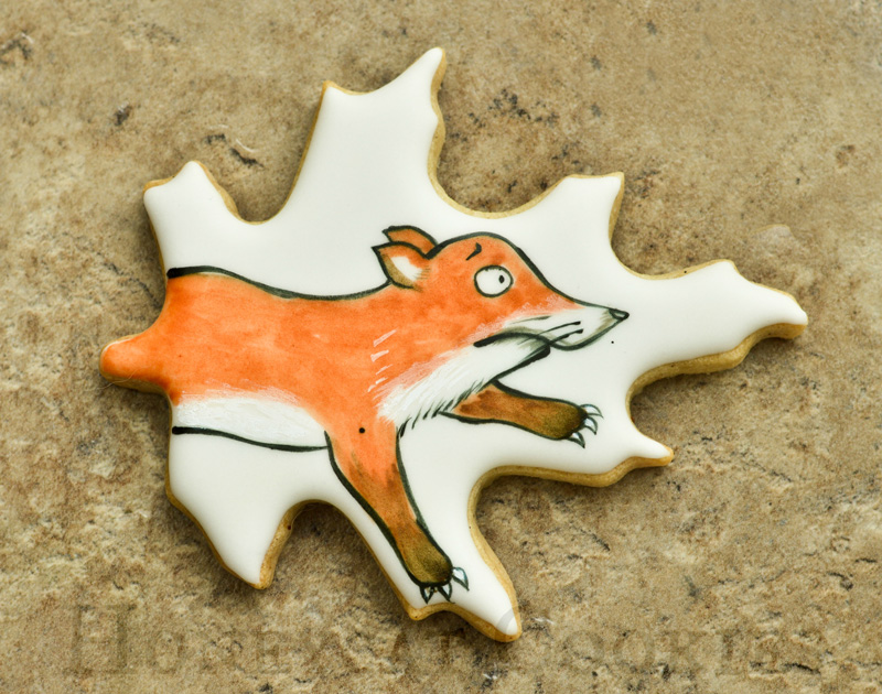 Handpainted Fox from Gruffalo decorated sugar cookie.