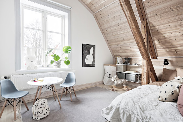 Unbelievable light attic scandinavian interior