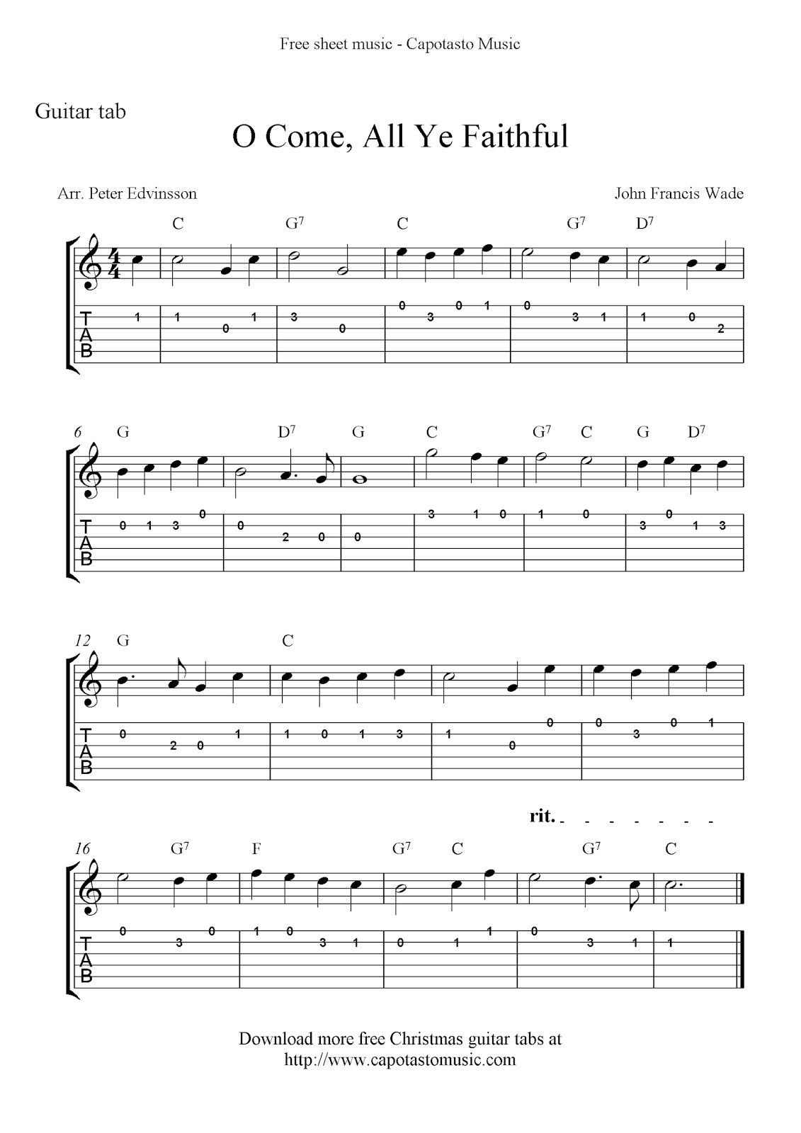 o come all ye faithful easy free christmas guitar sheet music and guitar tabs. Black Bedroom Furniture Sets. Home Design Ideas