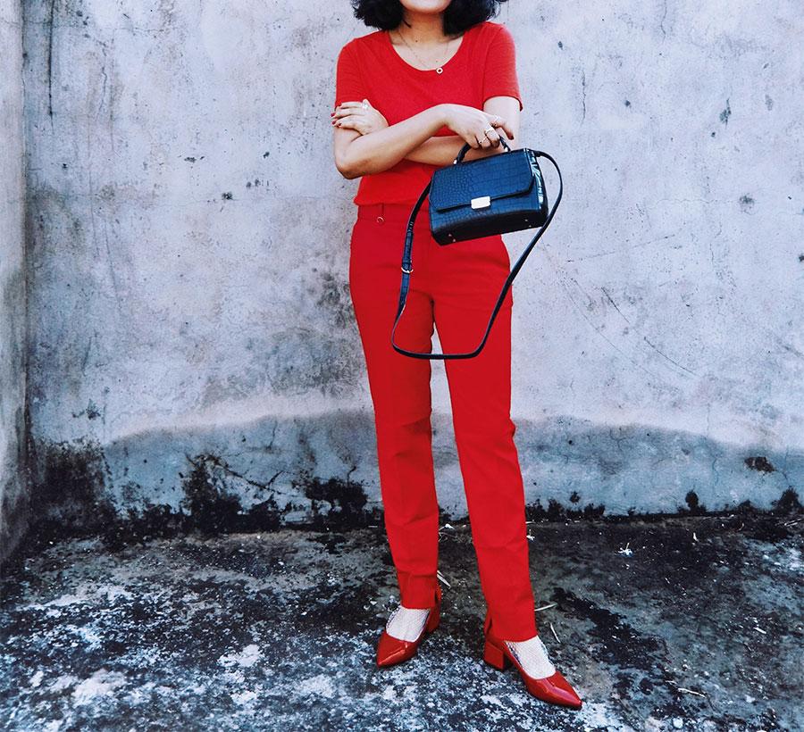 Next womens Red Top, mango red Highwaist trousers ,ZaraRedPatentHeel,ZaraBlackMiniBag, Indianstyleblogger