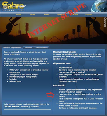 Sabre International - Employment requirements, Ex military staff