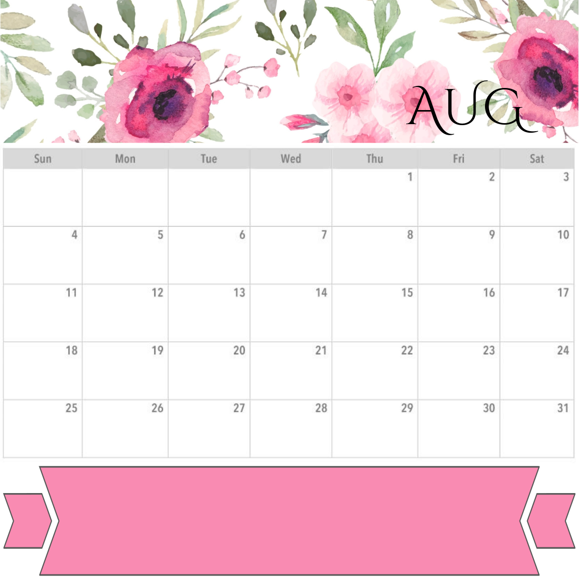 image about Printable Monthly Calendar August named PRINTABLES - PLANNER - AUGUST 2019 CALENDAR Month-to-month WEEKLY