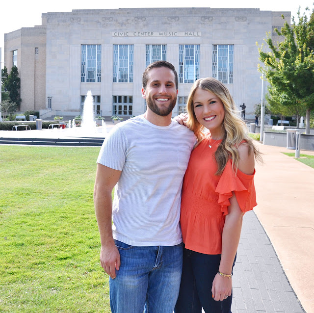 Couple outside the Oklahoma City Civic Center Music Hall