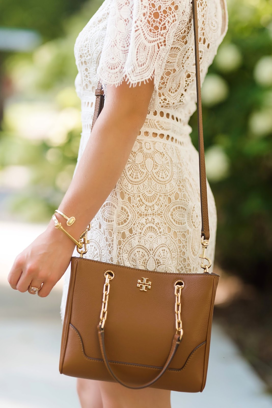 Nordstrom Anniversary Sale Lace Romper and Tory Burch Bag - Something Delightful