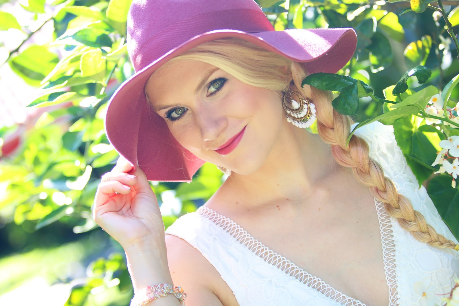 Pretty pink floppy hat from Forever21