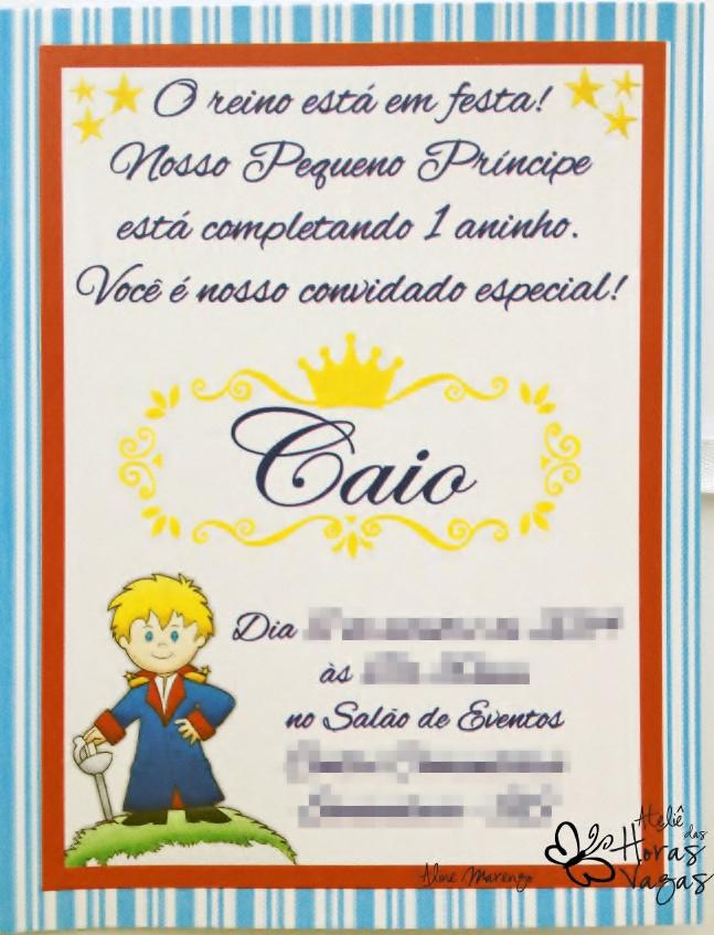 convite artesanal aniversário infantil menino azul vermelho amarelo o pequeno príncipe