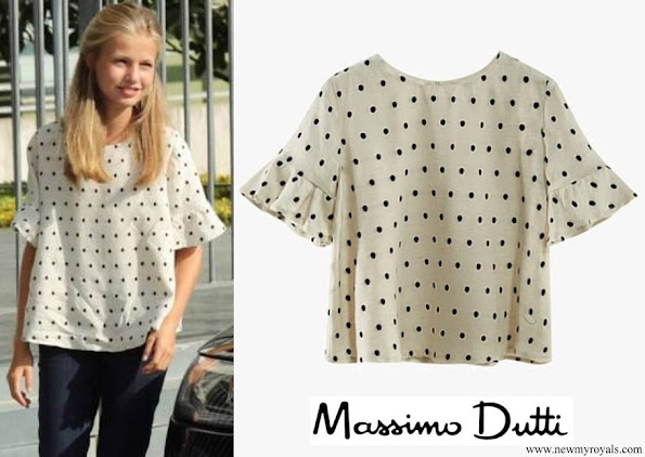 Crown Princess Leonor wore Massimo Dutti polka-dot blouse