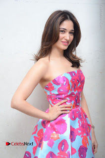 Actress Tamanna Latest Images in Floral Short Dress at Okkadochadu Movie Promotions  0095.JPG