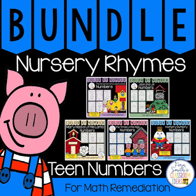 Color By Number With a Nursery Rhymes Theme For Teen Numbers Bundle - If you are looking for a resource for math remediation while still giving your students some confidence while reviewing important math skills, you will love this series. This bundle has five separate Color By Number Resources for a total of TWENTY-FIVE Color By Number worksheets focusing on TEEN Numbers 11 to 15 and 11 to 20 with five adorable Nursery Rhyme themes. The twenty-five pages have only a few color selections and only a few numbers, to help your students focus on the repetitive pattern of the teen numbers 11 to 15 and 11 to 20. All the while giving your students a fun and exciting review of important math skills at the same time! You will love the no prep, print and go ease of these printables. As always, the TWENTY-FIVE answer keys are included.