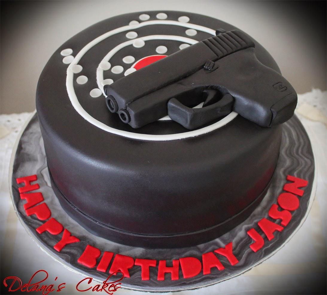 Fantastic Delanas Cakes Gun And Target Cake Personalised Birthday Cards Veneteletsinfo