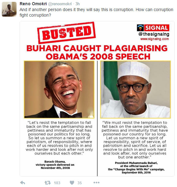 """Omokri mocks Buhari over """"Change Begins With Me"""" speech copied from Obama"""