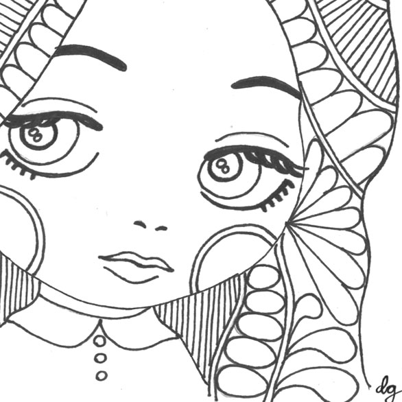 Mod and Mint: Zentangle Big Eyed Girl Illustration