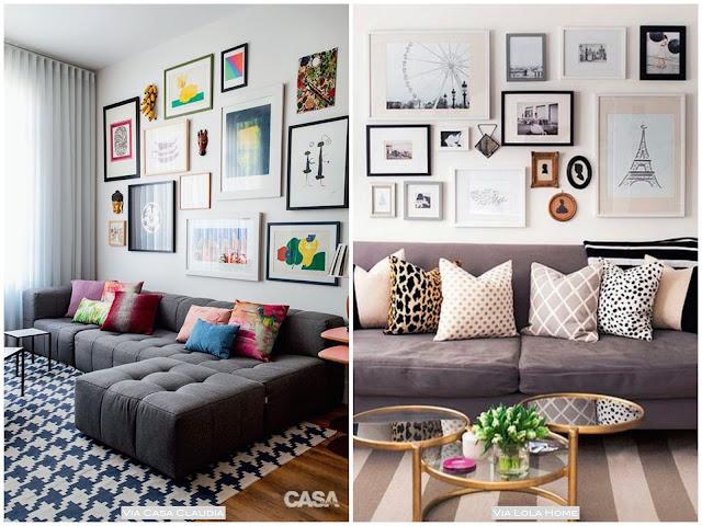 como decorar a sala com composição de quadros