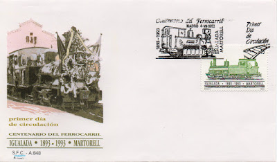 Sobre PDC del sello del Centenario del Ferrocarril de Igualada - Martorell