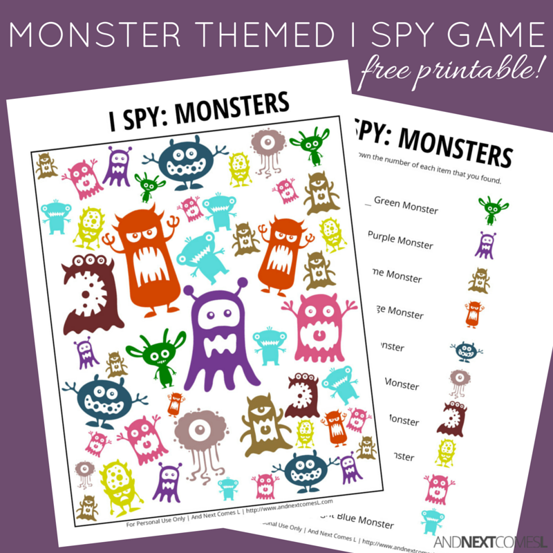 image regarding Printable Monster referred to as Monster Themed I Spy Activity Free of charge Printable for Youngsters And