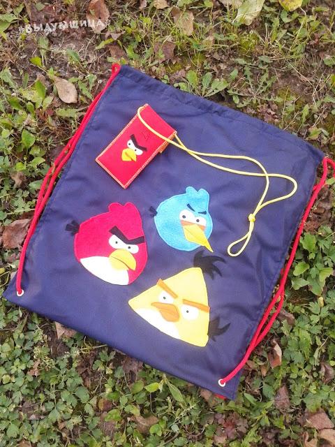 Мешок для обуви и чехол для телефона Angry Birds